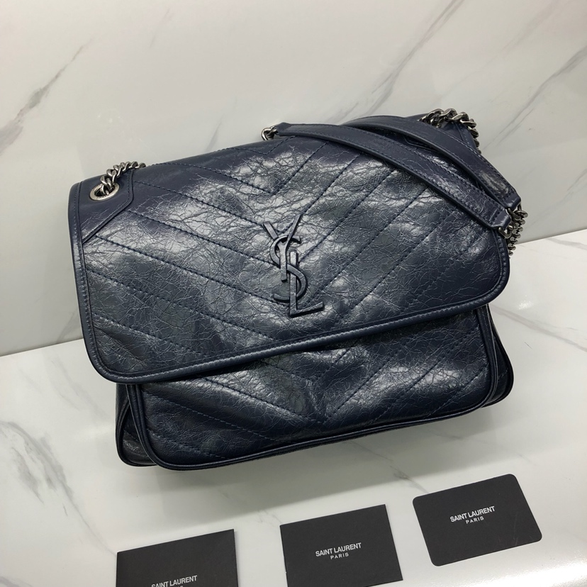 2019 S/S Saint Laurent Large Niki Chain Bag in vintage crinkled and quilted dark blue leather