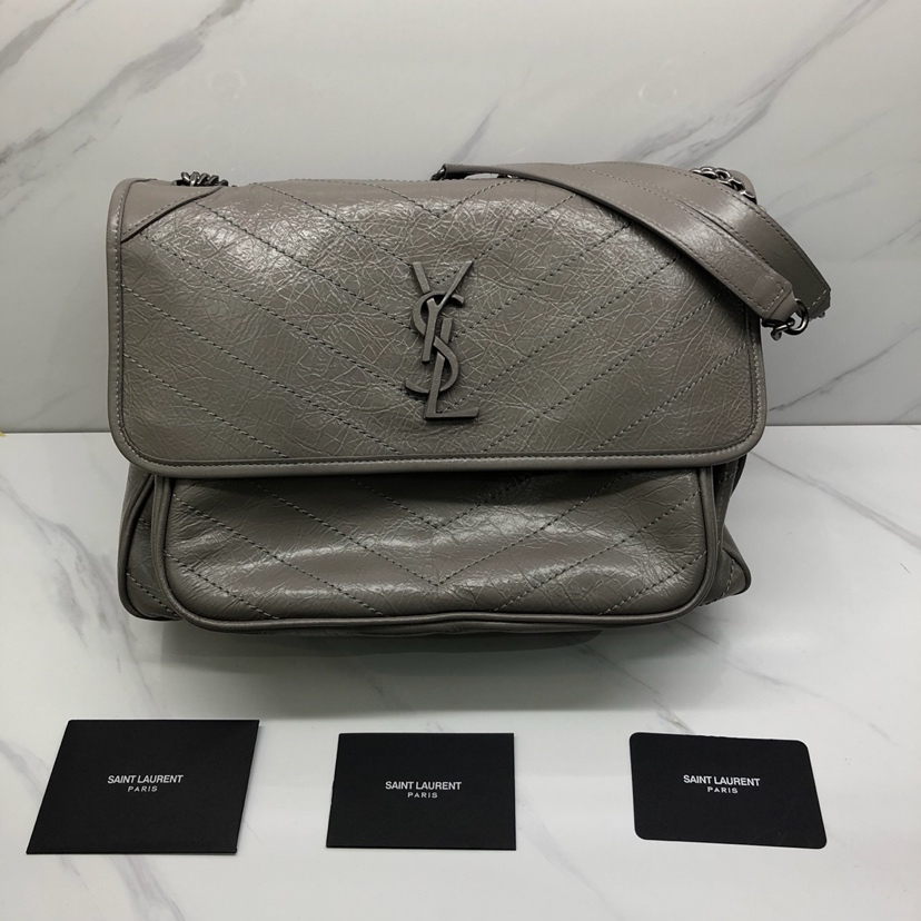 2019 S/S Saint Laurent Large Niki Chain Bag in vintage crinkled and quilted leather