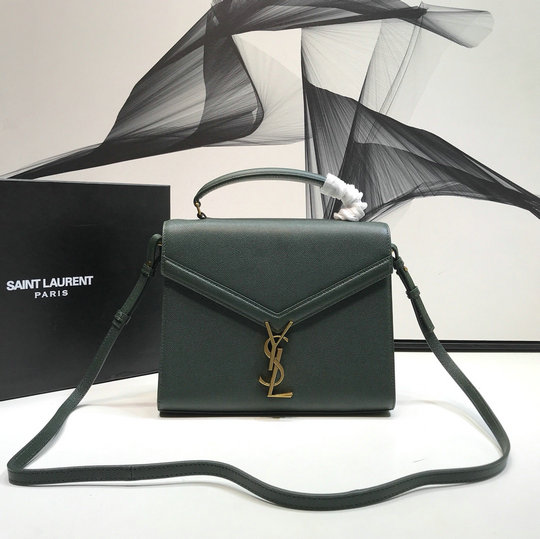 2020 Saint Laurent Cassandra Medium Top Handle Bag in olive grain de poudre embossed leather