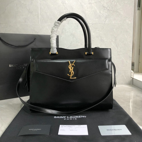 2019 S/S Saint Laurent Medium Uptown Tote in black glazed leather