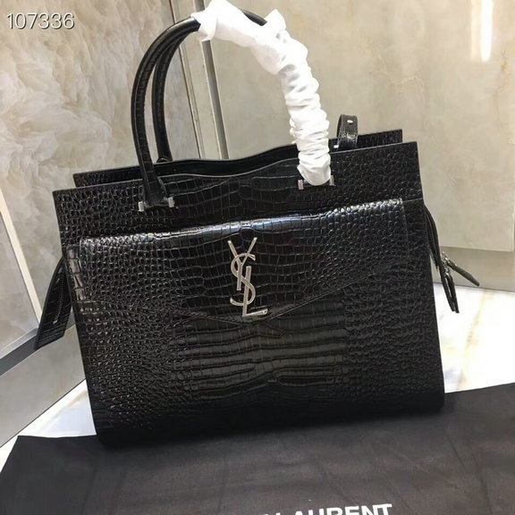 2019 A/W Saint Laurent Medium Uptown Tote in black shiny crocodile-embossed leather