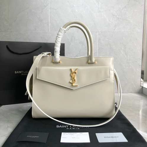 2019 S/S Saint Laurent Medium Uptown Tote in ivory glazed leather