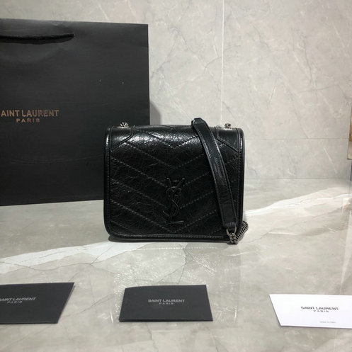 2019 Saint Laurent NIKI Chain Wallet in black crinkled vintage leather