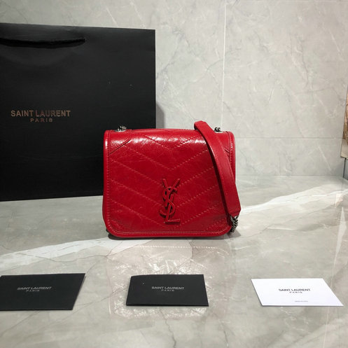 2019 Saint Laurent NIKI Chain Wallet in red crinkled vintage leather