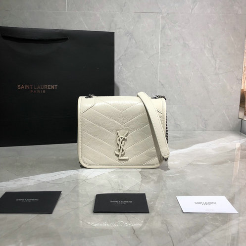 2019 Saint Laurent NIKI Chain Wallet in blanc vintage crinkled vintage leather