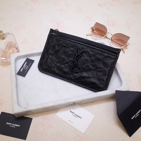 2019 Saint Laurent NIKI bill pouch in crinkled vintage leather