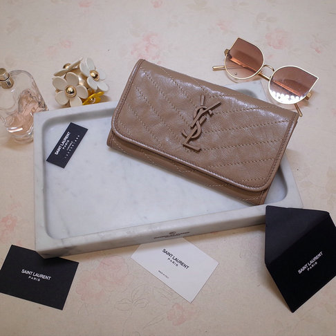 2019 Saint Laurent NIKI Large wallet in crinkled vintage leather