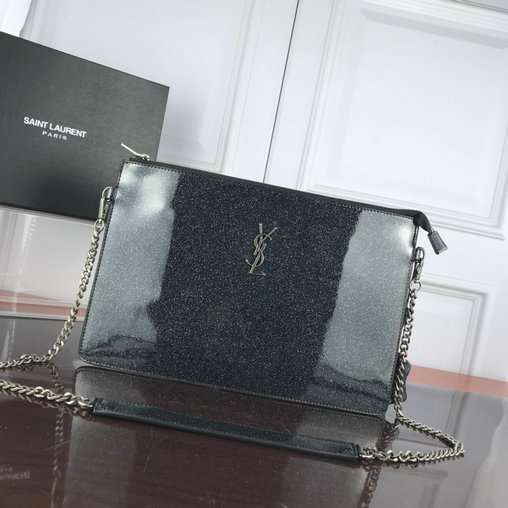 2019 S/S Saint Laurent Large Zip Clutch in black glitter patent leather