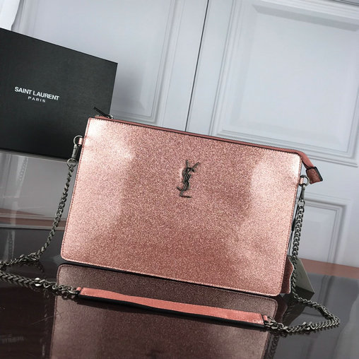 2019 S/S Saint Laurent Large Zip Clutch in glitter patent leather
