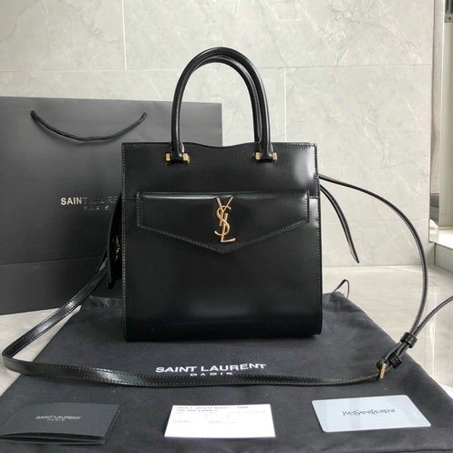 2019 S/S Saint Laurent Small Uptown Tote in black glazed leather