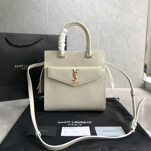 2019 S/S Saint Laurent Small Uptown Tote in ivory glazed leather