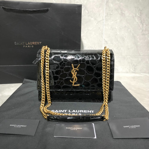 2019 S/S Saint Laurent Medium Sunset Bag in Black Turtle-embossed Patent Leather