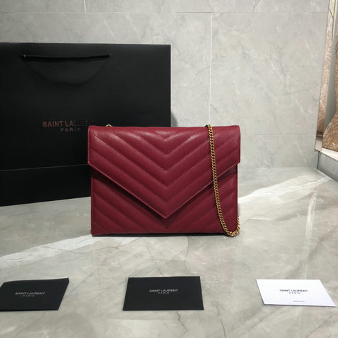 2019 Saint Laurent TRIBECA chain wallet in grain de poudre embossed aged leather