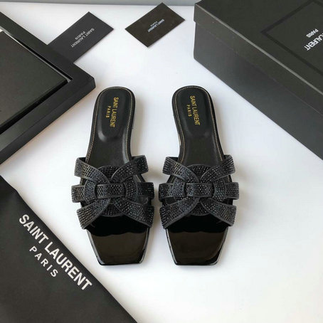2019 Saint Laurent Tribute Nu Pieds Flat Sandals in Black