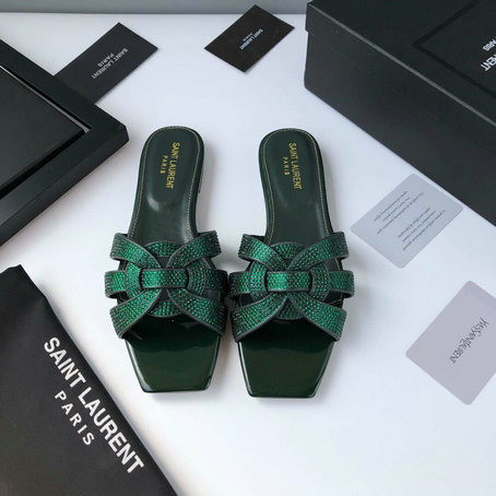 2019 Saint Laurent Tribute Nu Pieds Flat Sandals in Green