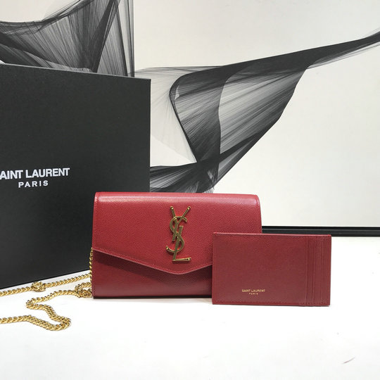 2019 Saint Laurent UPTOWN chain wallet in red grain de poudre embossed leather