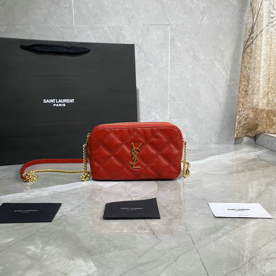 2020 Saint Laurent BECKY Double-zip Pouch in eros red quilted lambskin leather