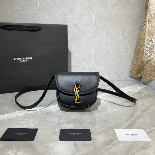 2020 Saint Laurent Kaia Mini Satchel in black smooth vintage leather