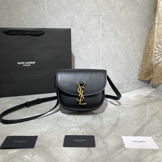 2020 Saint Laurent Kaia Small Satchel in black smooth vintage leather