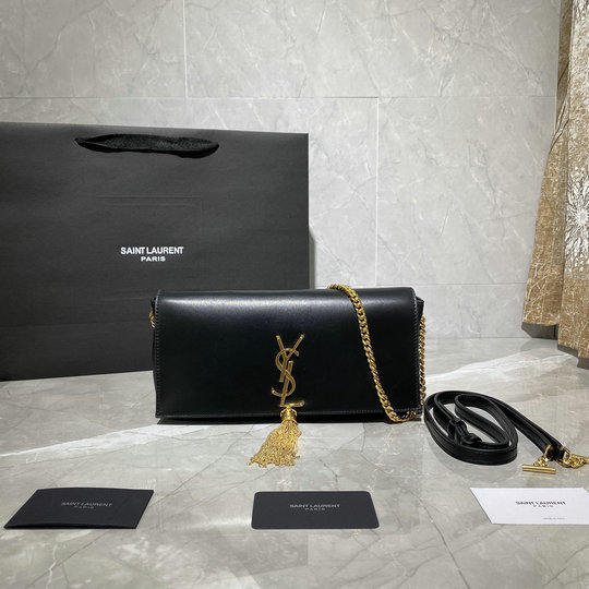 2020 Saint Laurent Kate 99 Monogram Bag in black lambskin leather