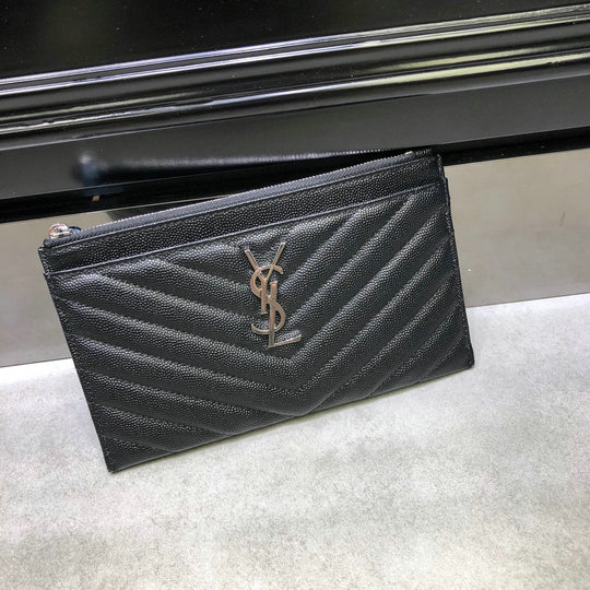 2020 Saint Laurent Monogram Bill Pouch in grain de poudre embossed leather