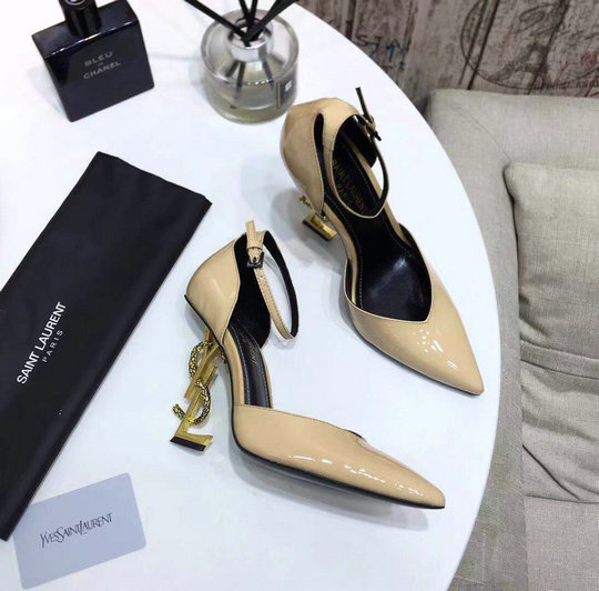 2020 Saint Laurent Opyum D'orsay Pumps in Patent Leather with Bronze Snake Heel