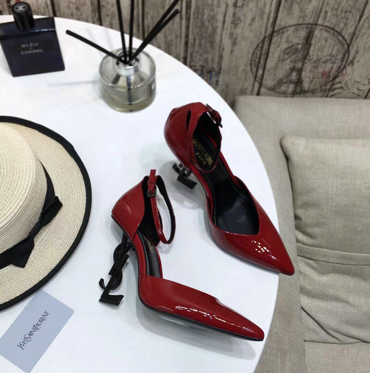 2020 Saint Laurent Opyum D'orsay Pumps in Red Patent Leather with Black Heel