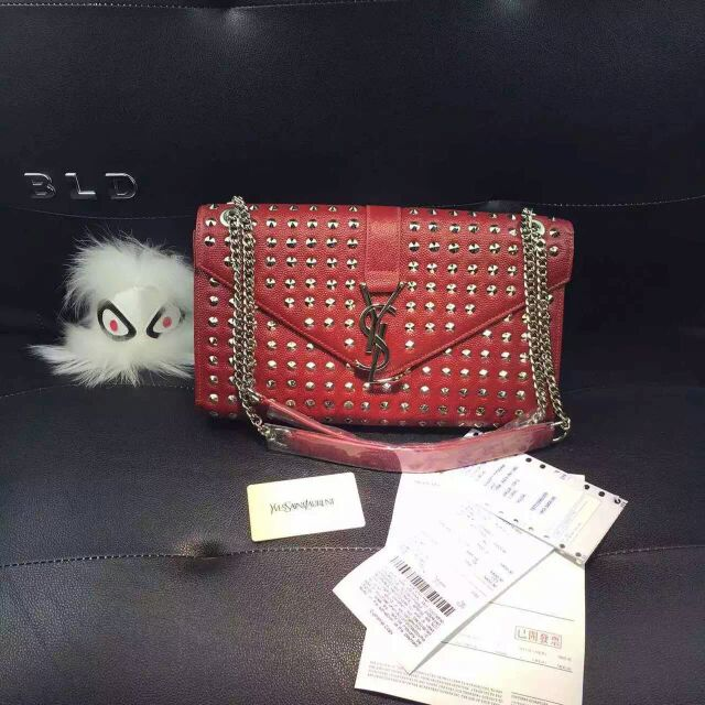 2015 New Saint Laurent Bag Cheap Sale-Saint Laurent Classic Monogram Satchel in Red Grain de Poudre Textured with Rivets