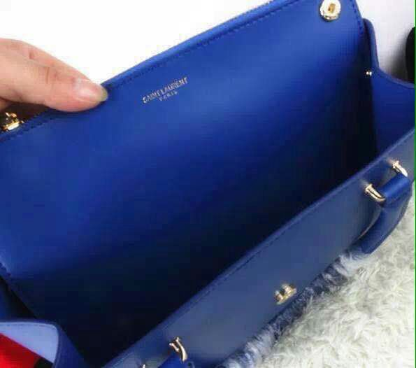 2015 Saint Laurent Runway Collection Outlet-YSL Top Handle Bag in Royal Blue Calfskin Leather