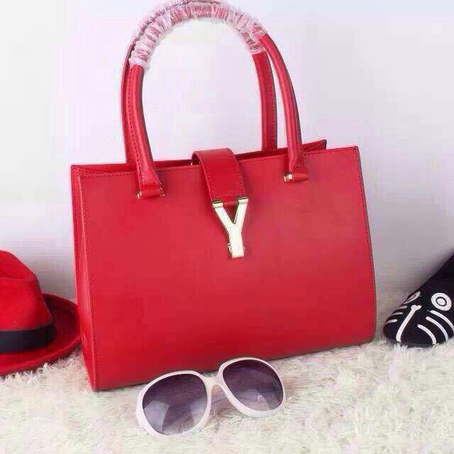 2015 Saint Laurent Runway Collection Outlet - YSL Top Handle Bag in Red Calfskin Leather