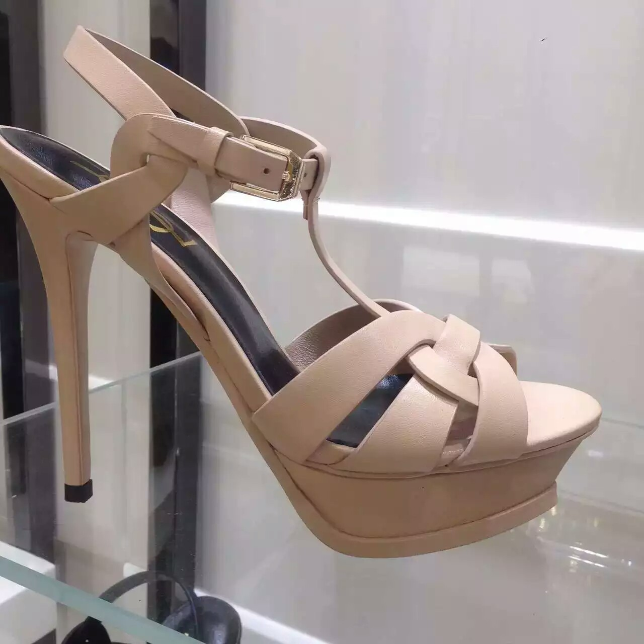2016 Saint Laurent Shoes Cheap Sale-Saint Laurent Jodie 105 Strappy Sandal in Powder Leather