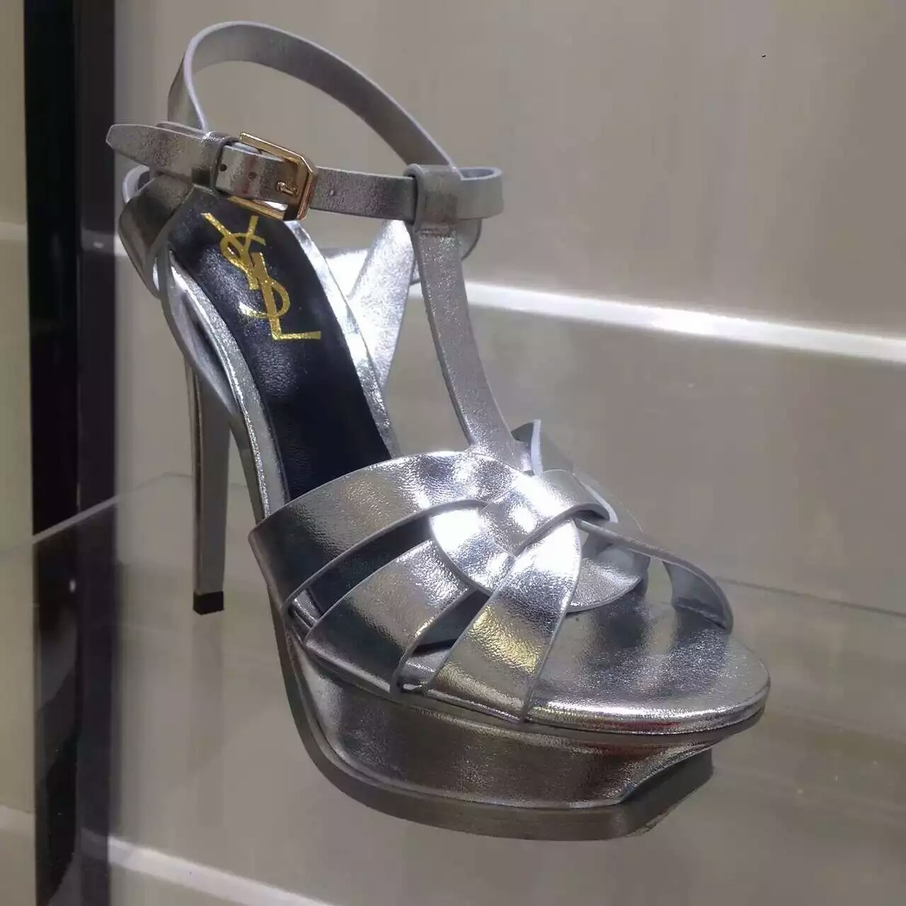 2016 Saint Laurent Shoes Cheap Sale-Saint Laurent Jodie 105 Strappy Sandal in Silver Metallic Leather