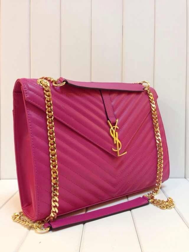 -202014Saint Laurent Classic Monogramme Saint Laurent Satchel in hot pink Grain de Poudre Textured Leather