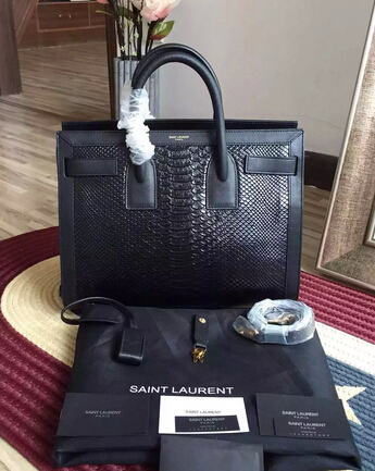 2015 New Saint Laurent Bag Cheap Sale- Saint Laurent Classic Medium SAC DE JOUR BAG in Black Crocodile Embossed Leather