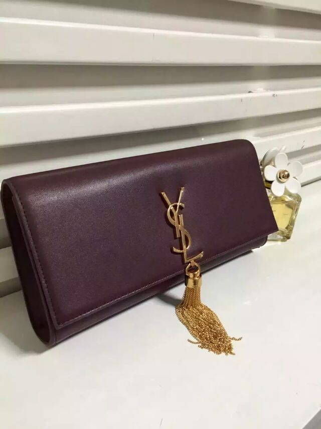 2015 New Saint Laurent Bag Cheap Sale-YSL Classic Monogramme Tassel Clutch Bag in Oxblood Calf Leather
