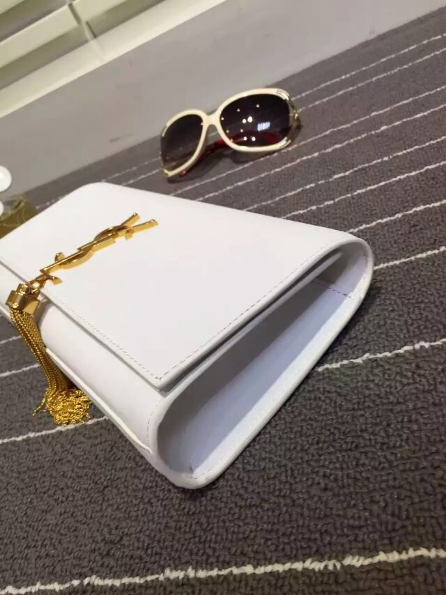 2015 New Saint Laurent Bag Cheap Sale-YSL Classic Monogramme Tassel Clutch Bag in White Calf Leather