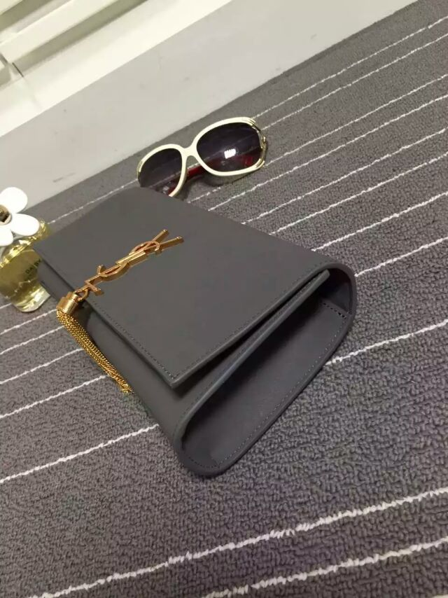 2015 New Saint Laurent Bag Cheap Sale-YSL Classic Monogramme Tassel Clutch Bag in Fog Rubberised Leather