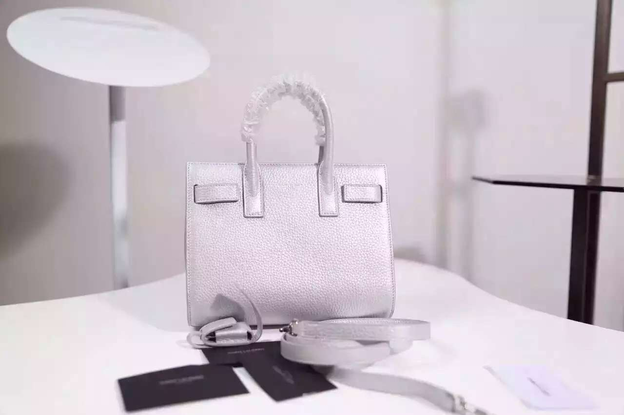 2015 New Saint Laurent Bag Cheap Sale-Saint Laurent Classic Nano Sac De Jour Bag in Silver Leather