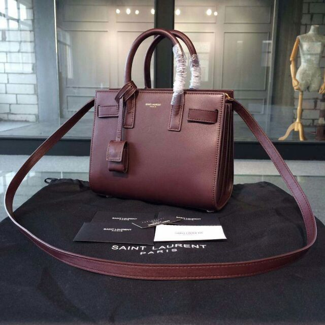 2015 New Saint Laurent Bag Cheap Sale-Saint Laurent Classic Nano Sac De Jour Bag in Oxblood Leather