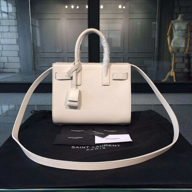 2015 New Saint Laurent Bag Cheap Sale-Saint Laurent Classic Nano Sac De Jour Bag in White Leather