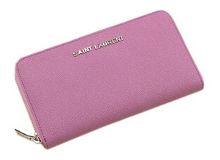 Hot Sale!2015 New Saint Laurent Bag Outlet- YSL Saffiano Leather Zippy Wallet 340841Pink