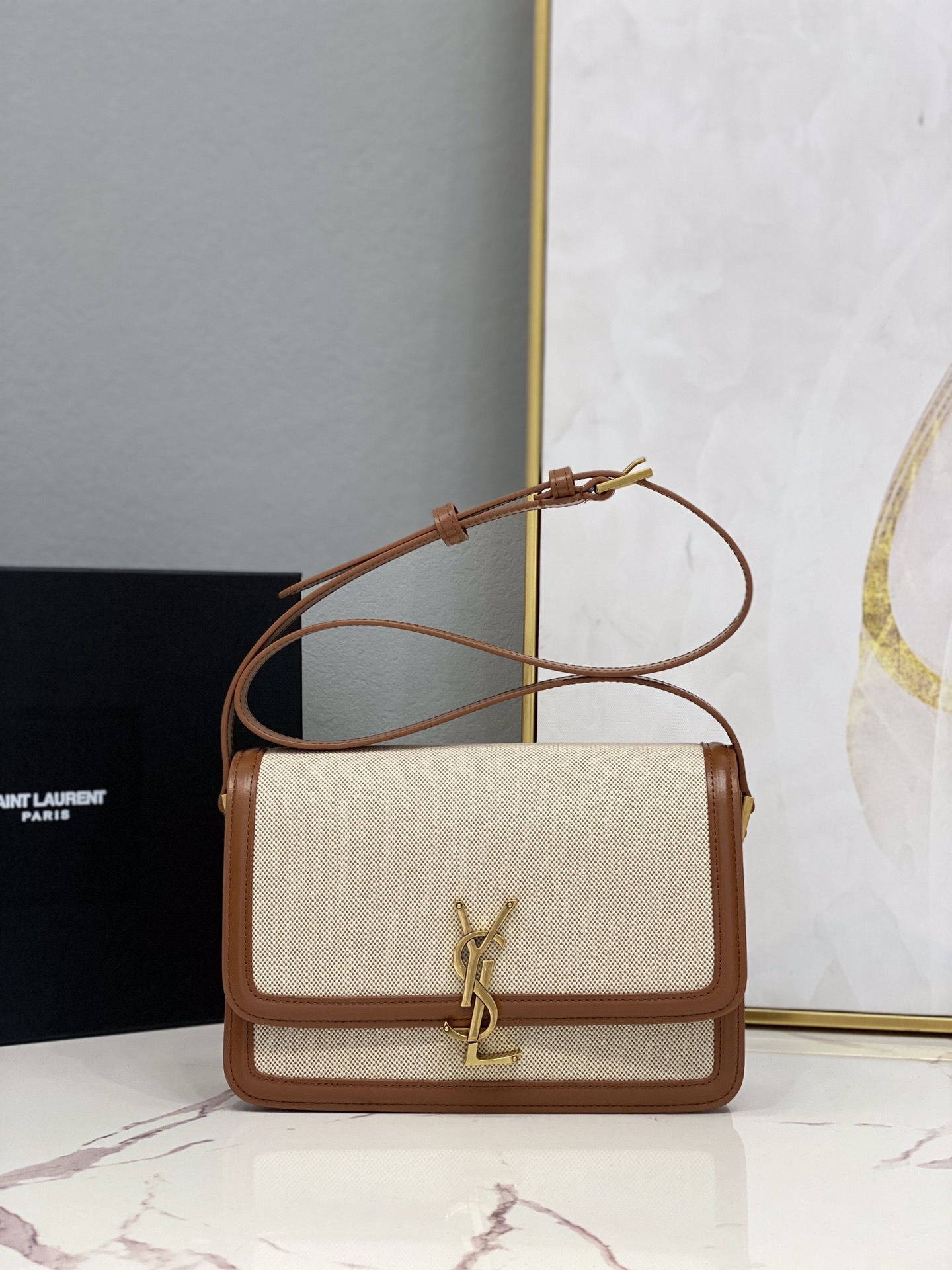 2021 cheap Saint Laurent solferino medium satchel in cotton canvas and leather