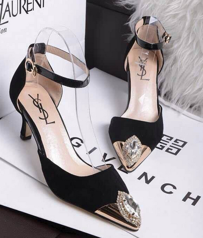 Saint Laurent Kitten 50 Ankle Strap Pump in Black Leather