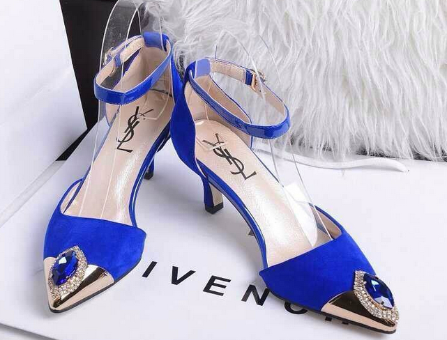 Saint Laurent Kitten 50 Ankle Strap Pump in Blue Leather