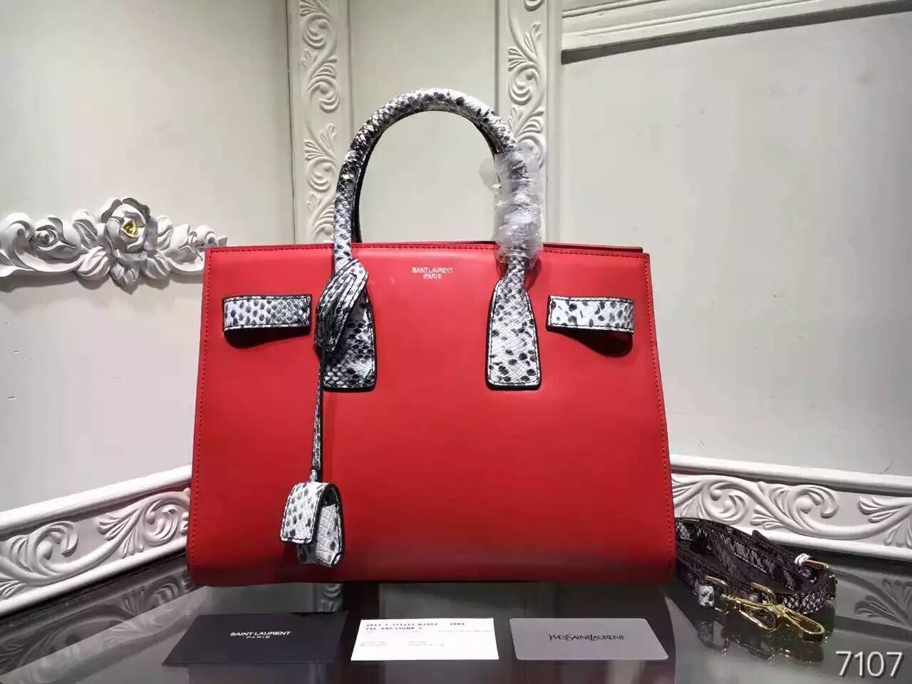 2016 New Saint Laurent Bag Cheap Sale-Saint Laurent Classic Sac De Jour Bag in Red Calfskin and Python Embossed Leather