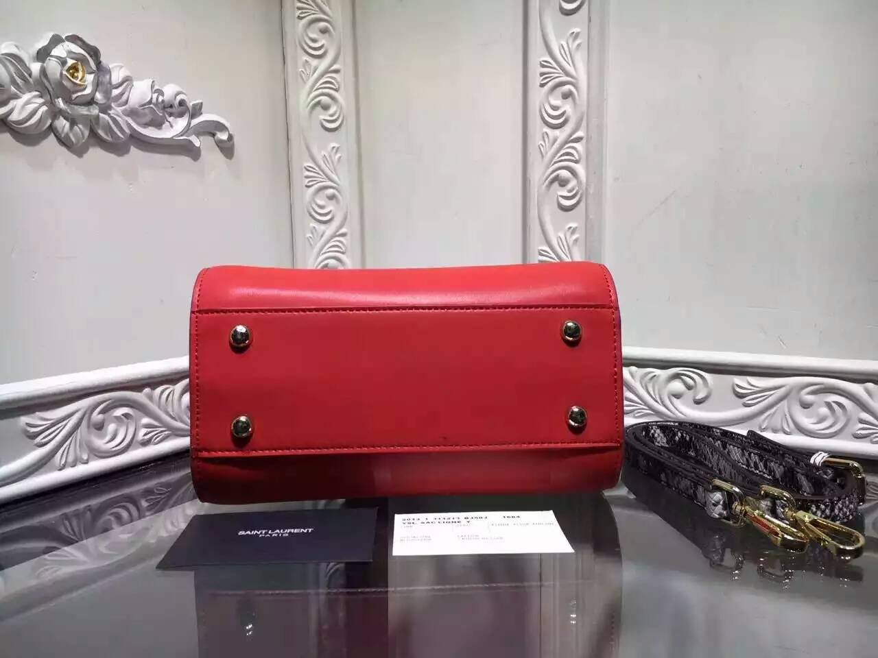 2016 New Saint Laurent Bag Cheap Sale-Saint Laurent Medium Classic Sac De Jour Bag in Red Calfskin and Python Embossed Leather