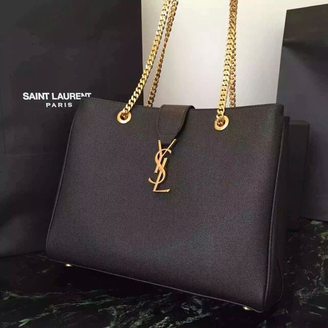 2015 New Saint Laurent Bag Cheap Sale-Saint Laurent Classic Monogram Shopping Bag in Black Grained Leather with Gold Chain