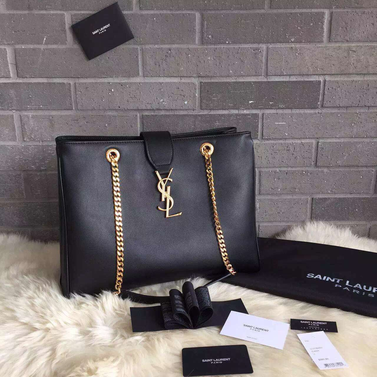 2015 New Saint Laurent Bag Cheap Sale-Saint Laurent Classic Monogram Shopping Bag in Black Smooth Calfskin Leather with Gold Chain