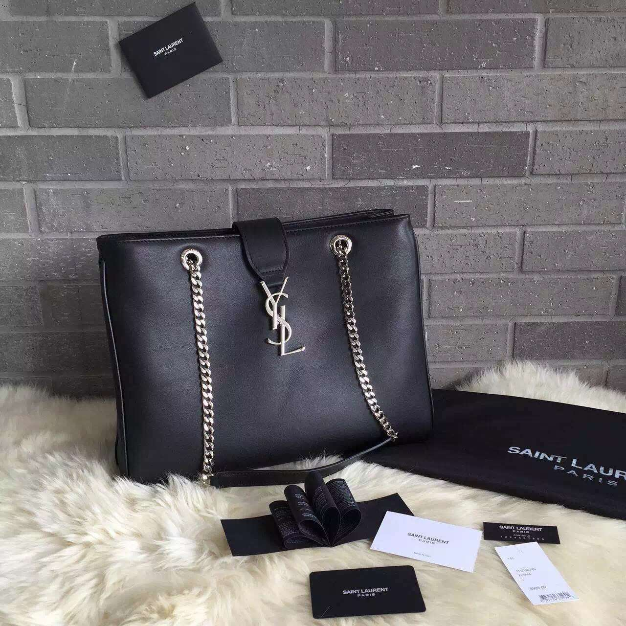 2015 New Saint Laurent Bag Cheap Sale-Saint Laurent Classic Monogram  Shopping Bag in Black 7f9c4bde9e908