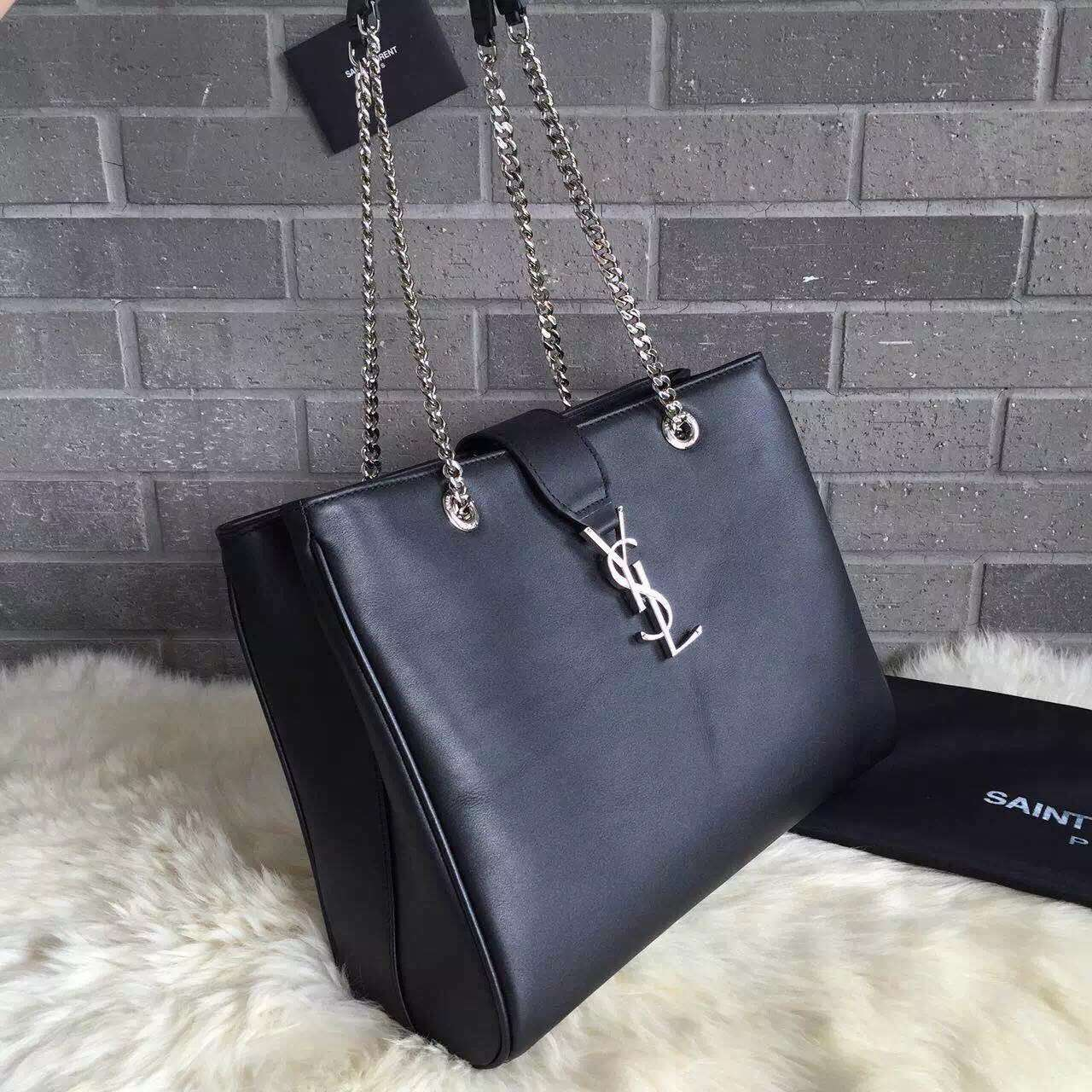 2015 New Saint Laurent Bag Cheap Sale-Saint Laurent Classic Monogram Shopping Bag in Black Smooth Calfskin Leather with Silver Chain